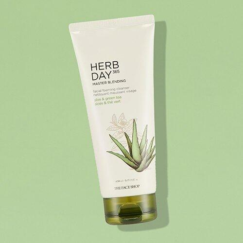 sua-rua-mat-the-face-shop-herb-day-365-master-blending-facial-foaming-cleanser-aloe-greentea