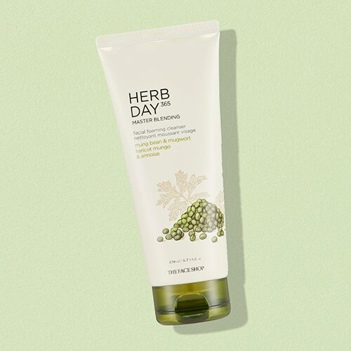 sua-rua-mat-the-face-shop-herb-day-365-master-blending-facial-foaming-cleanser-mung-bean-mugwort