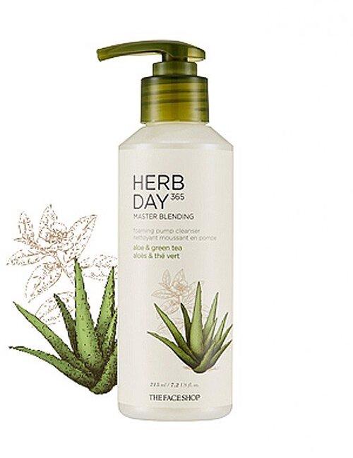 sua-rua-mat-the-face-shop-herb-day-365-master-blending-liquid-foam-aloe-greentea